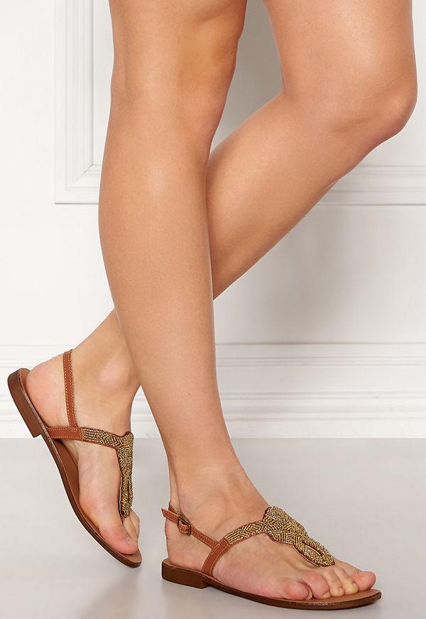 Pieces Carmensia Leather Sandals