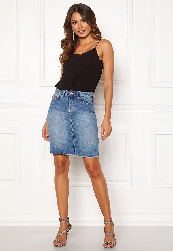 Only Eliza Reg Raw Edge Skirt Medium Blue Denim