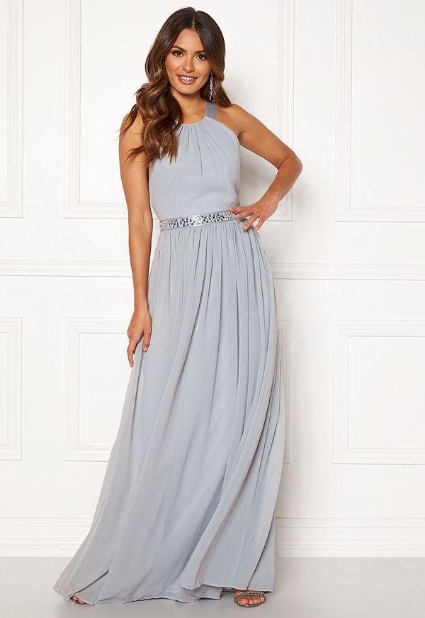 Goddiva Halterneck Chiffon Maxi Dress Grey