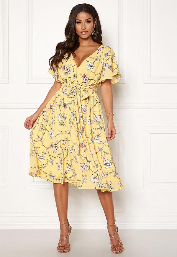 Goddiva Floral Flutter Midi Dress