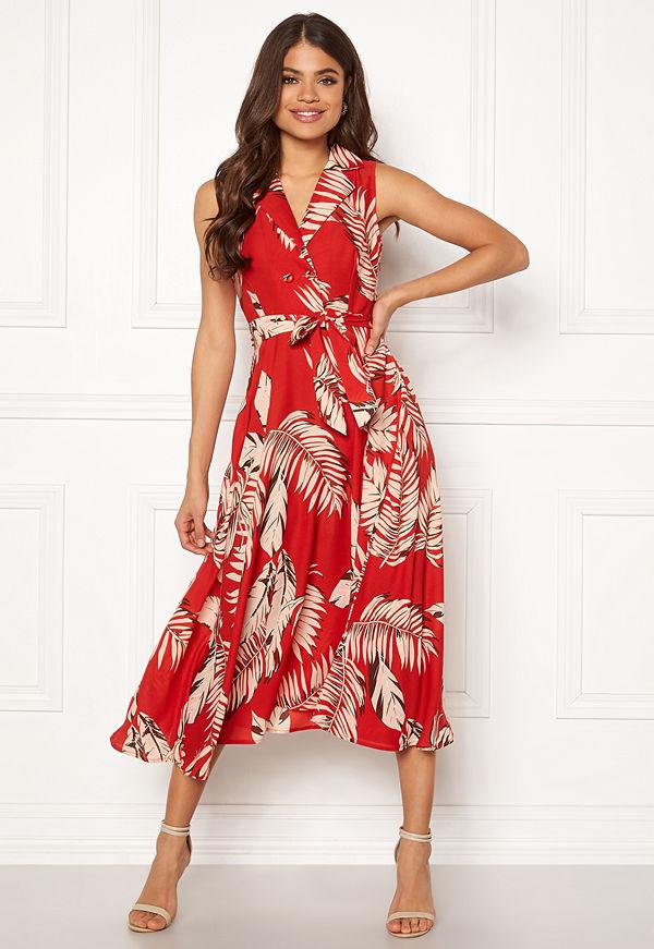 Blue Vanilla Palm Print Midi Dress
