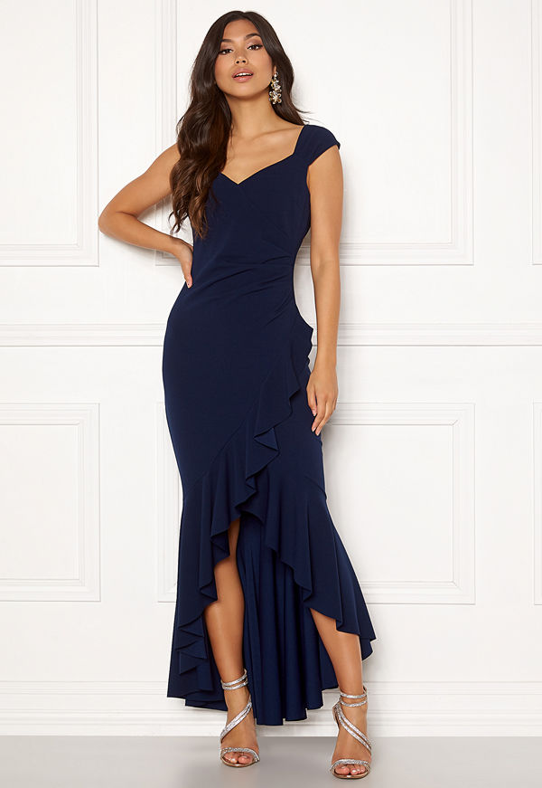 Goddiva Wrap Front Frill Dress