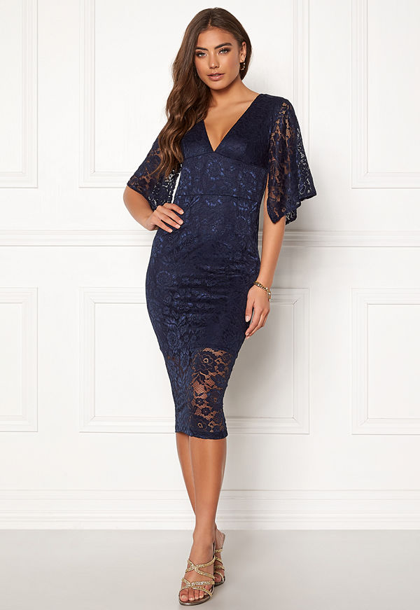 Ax Paris Lace V Neck Midi Dress