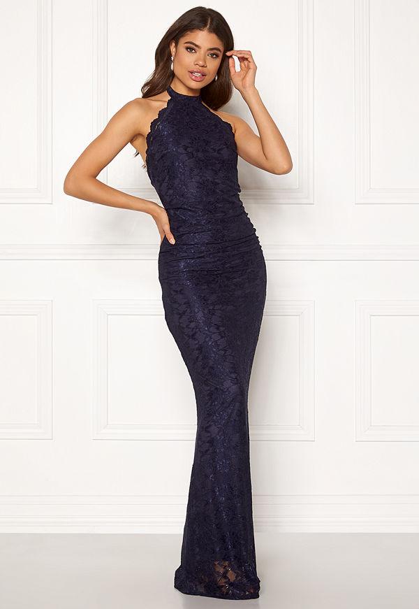 Goddiva High Neck Lace Maxi Dress Navy