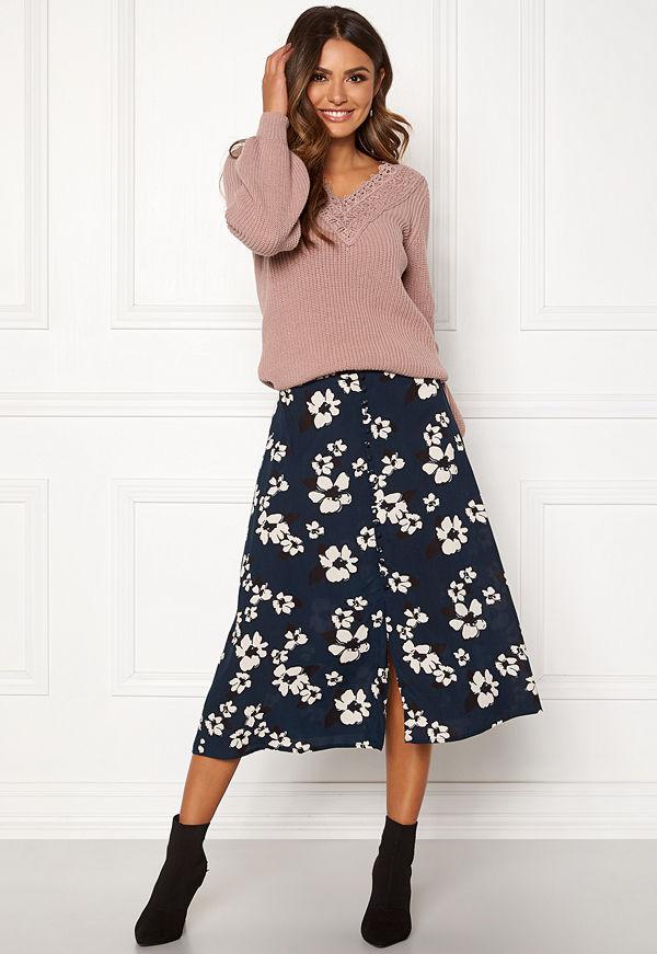 Happy Holly Frida button skirt Dark blue / Patterned