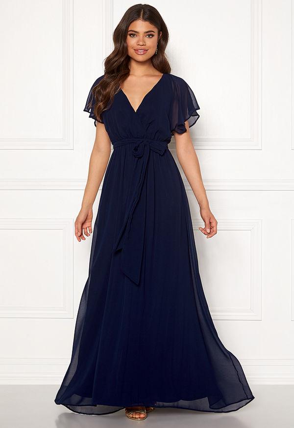 Goddiva Sleeve Chiffon Maxi Dress