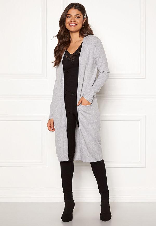 Vila Ril Long Knit Cardigan Light Grey Melange