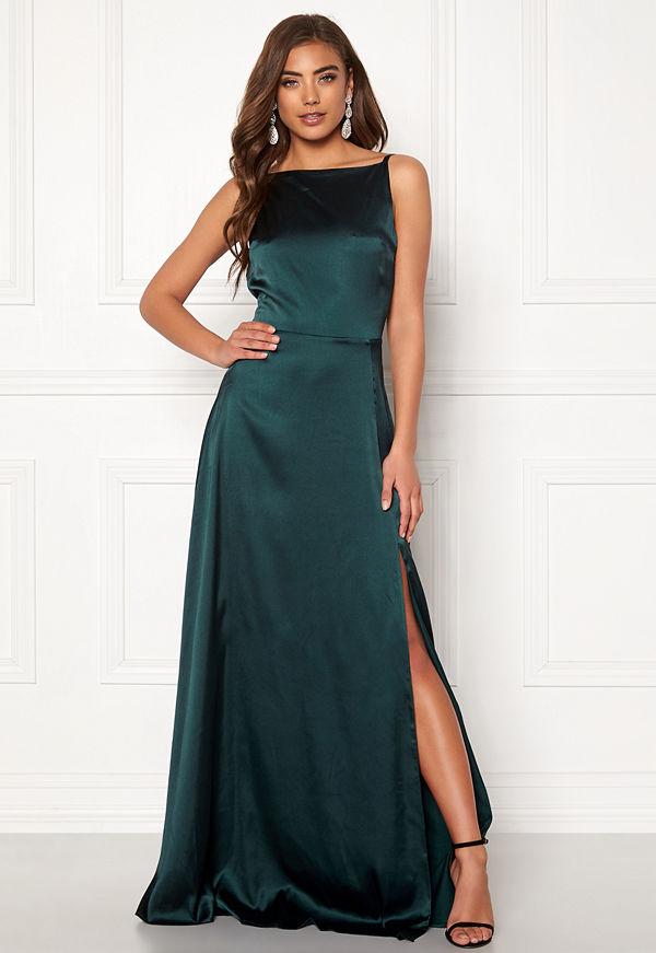 Moments New York Laylani Satin Gown Dark green