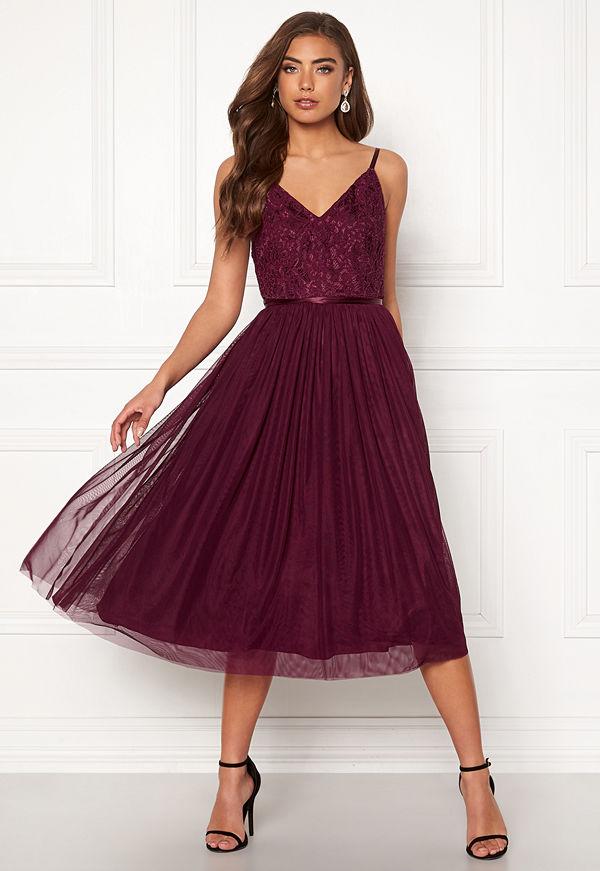 Moments New York Daphne Mesh Dress Wine-red