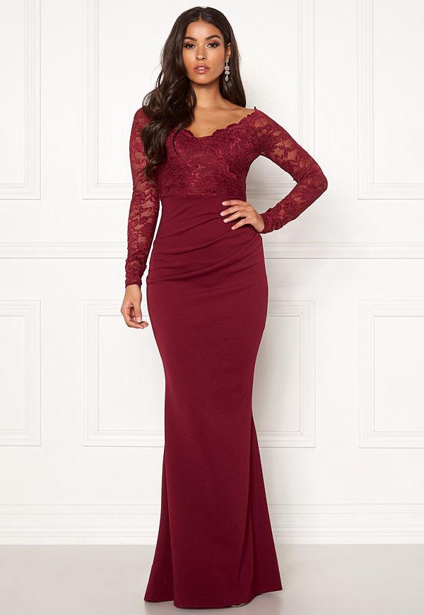 Goddiva Lace Trim Maxi Dress Wine