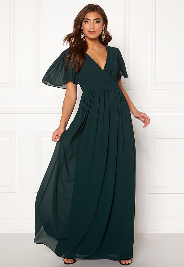 Moments New York Liana Chiffon Gown Dark green