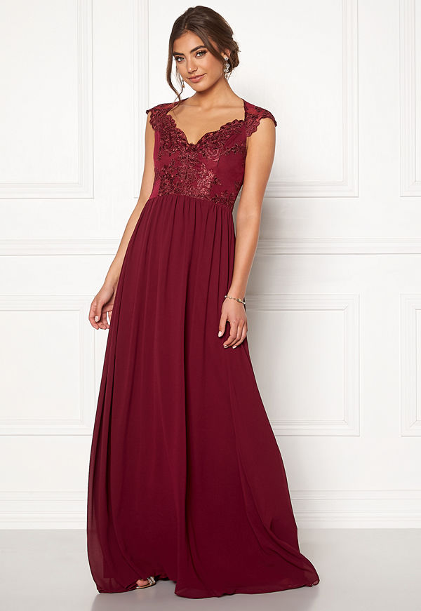 Moments New York Blossom Chiffon Gown Wine-red