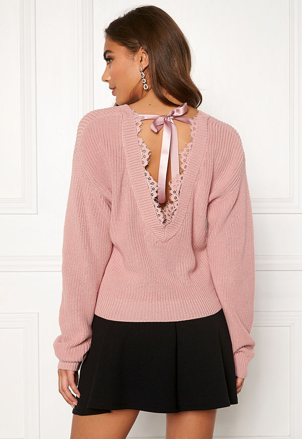 Bubbleroom Callie lace neck knitted sweater
