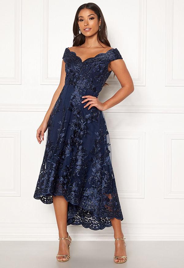 Goddiva Embroidered Lace Dress Navy