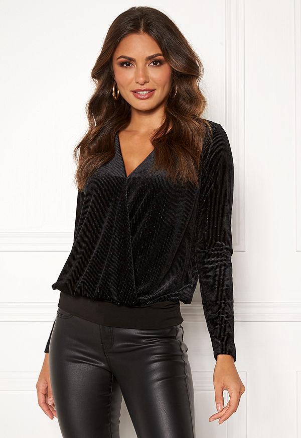 Happy Holly Angela velvet top Black