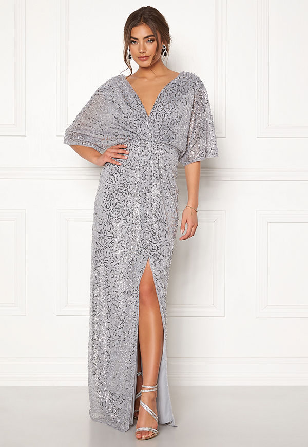 Moments New York Holly Beaded Gown Silver