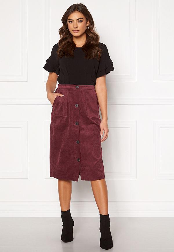 Vila Josy Button HW Skirt Tawny Port