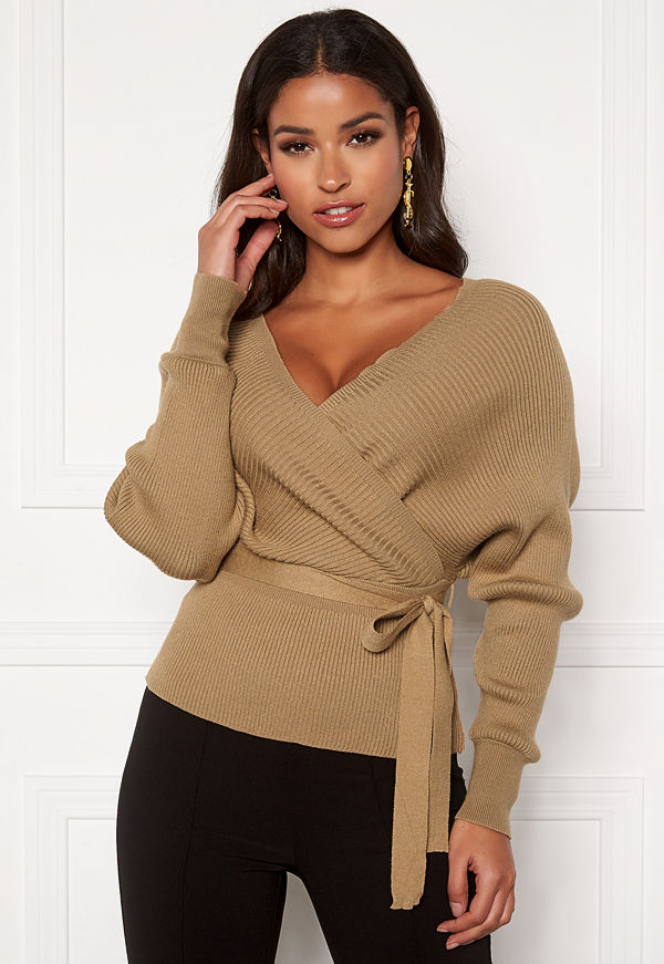 Blue Vanilla Double V Rib Jumper Camel