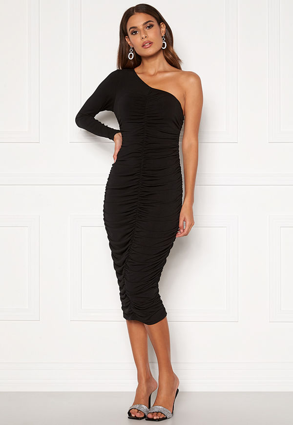 Ax Paris One Shoulder Midi Dress Black