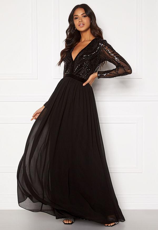 Goddiva Deep V Sequin Maxi Dress