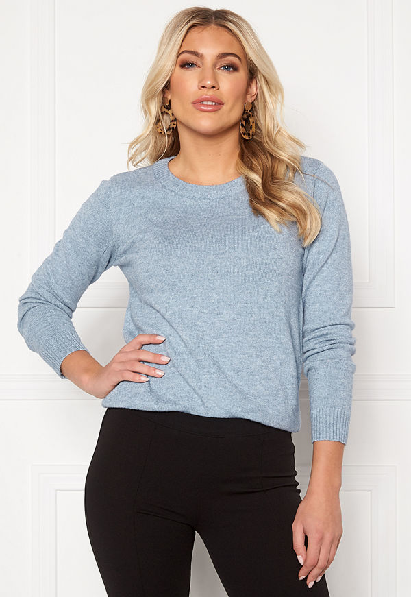 Vila Ril L/S O-neck Knit Top Ashley Blue