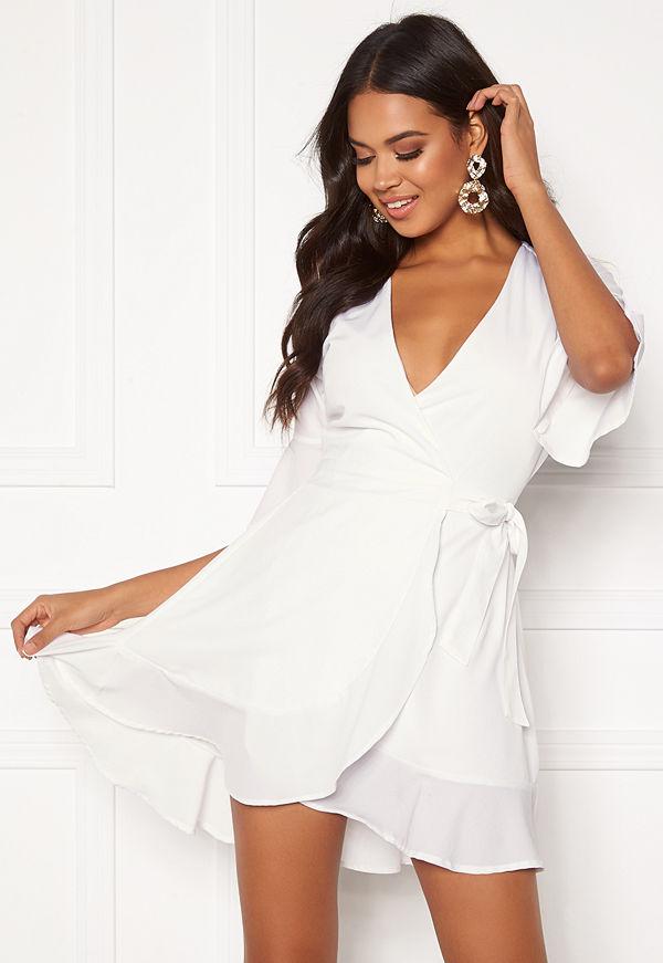 Bubbleroom Edie wrap dress White