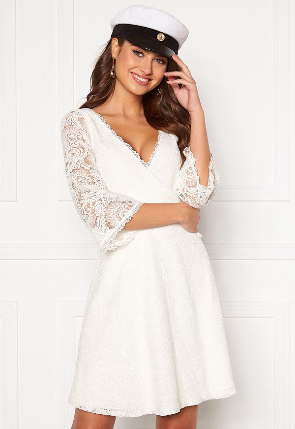Chiara Forthi Heaven wrap lace dress White