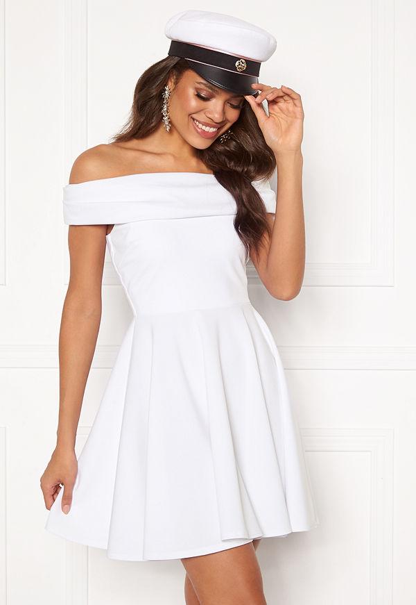 Goddiva Bardot Skater Dress White
