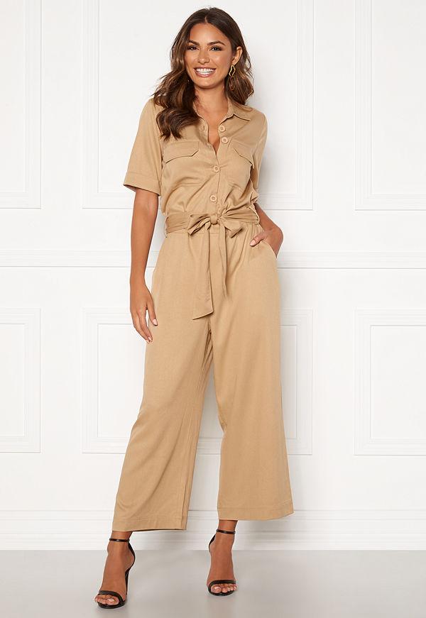 Happy Holly Sarah utility jumpsuit Khaki beige