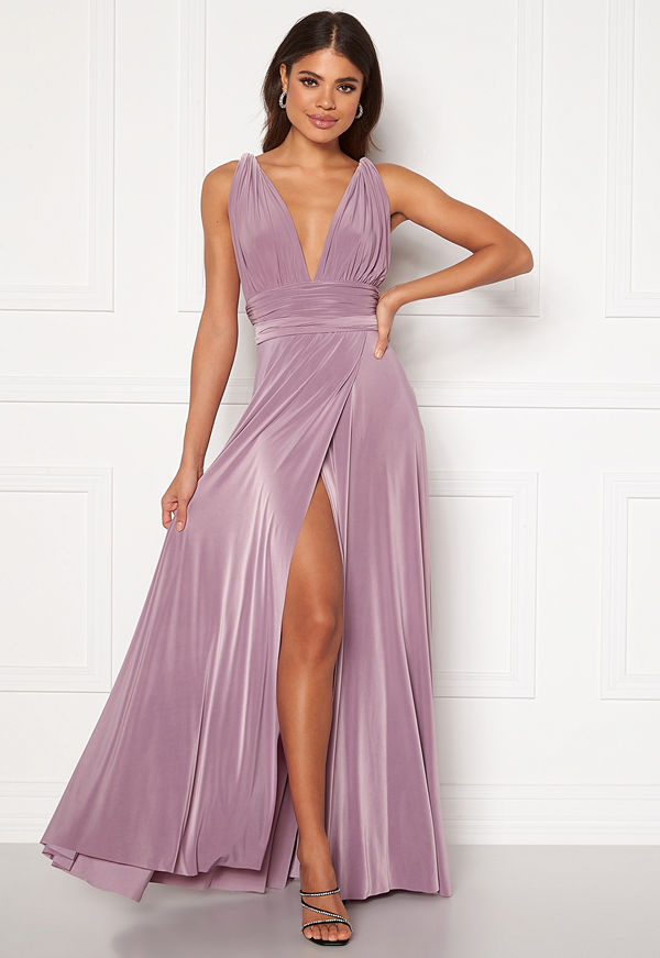 Goddiva Multi Tie Wrap Maxi Dress Dusty Lavendel