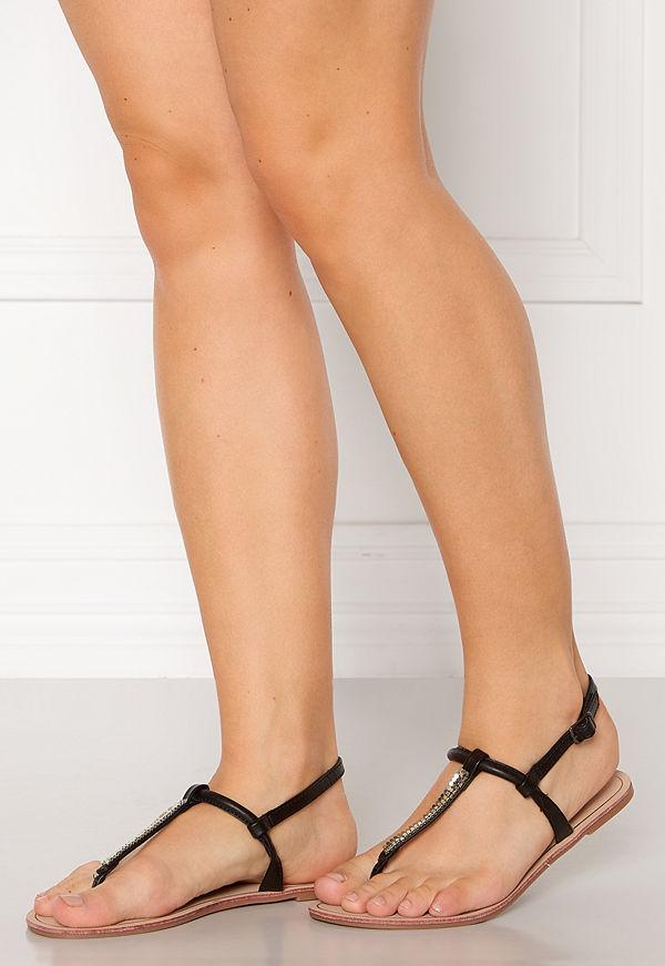 Only Margit PU Glitter Split Toe Sandal Black