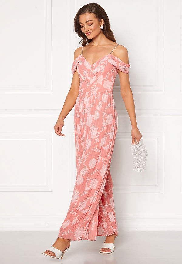 Forever New Daniella Pleat Jumpsuit Coral Linear Spray