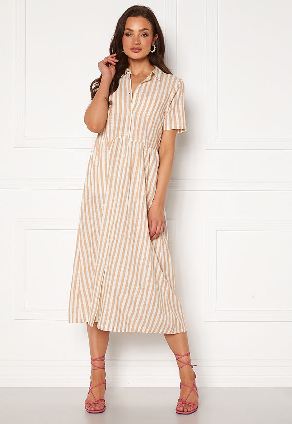 Ichi Gry Dress Natural Striped