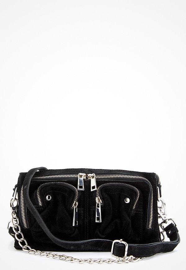 NuNoo svart axelväska Stine Chain Suede Bag Black