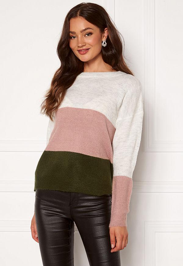 Jacqueline de Yong Elanora L/S Stripe Pullover Forest Night Colorbl