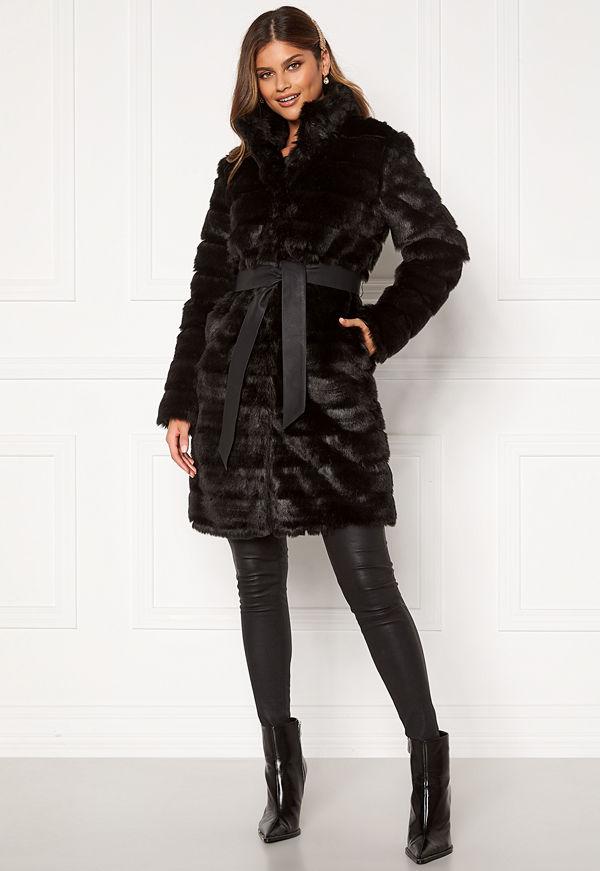 Chiara Forthi Bologna Faux Fur Coat Black