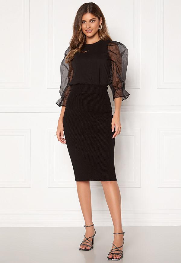 Vila Ril Knit HW Pencil Skirt Black