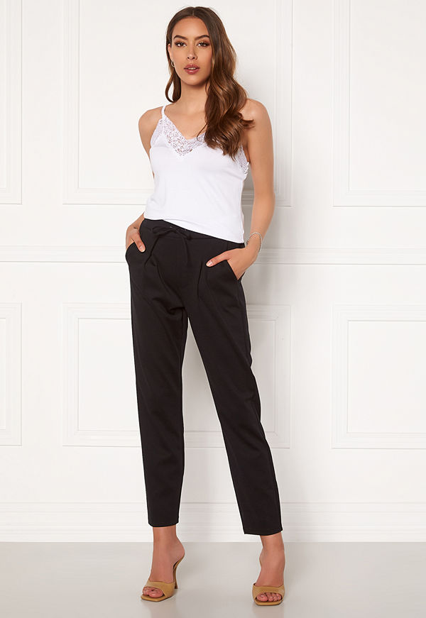 Happy Holly byxor Mathilda high waist tricot pants Black