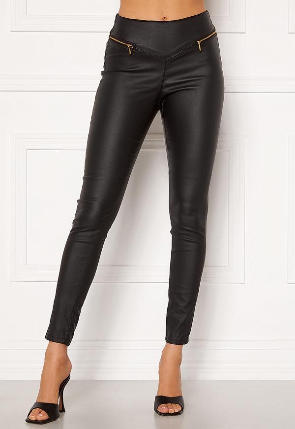 Vero Moda svarta byxor Geller HR Slim Coated Zip Pants