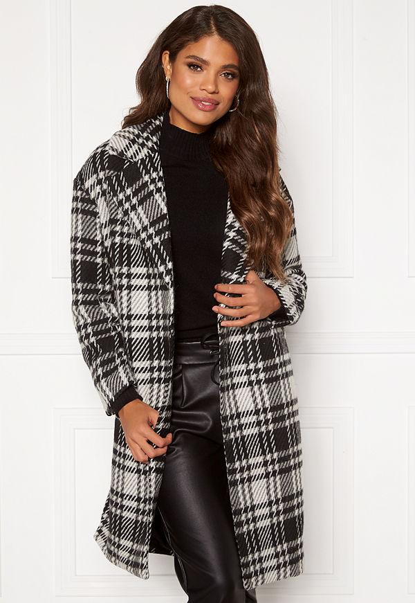 Only Dajana Check Wool Coat OTW Black