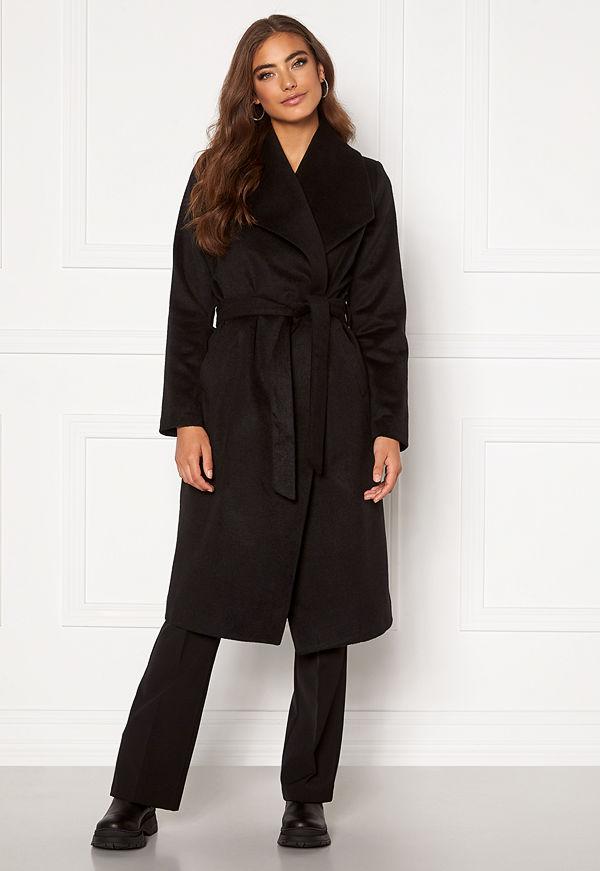 Moa Mattsson X Bubbleroom Pointy collar coat Black
