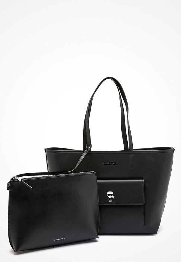 Karl Lagerfeld svart shopper Ikonik Metal Pin Tote A999 Black