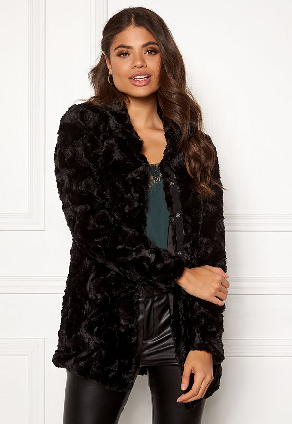 Vero Moda Curl High Neck Faux Fur Black