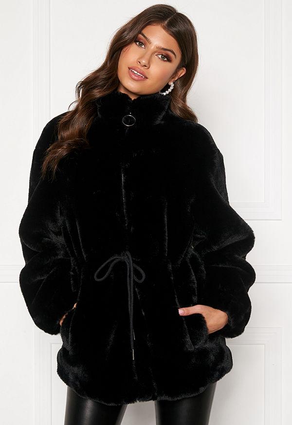 Bubbleroom Trixie faux fur jacket Black