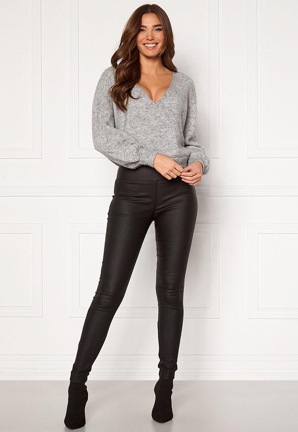 Pieces Roxy HW Zip Coated Leggings Black