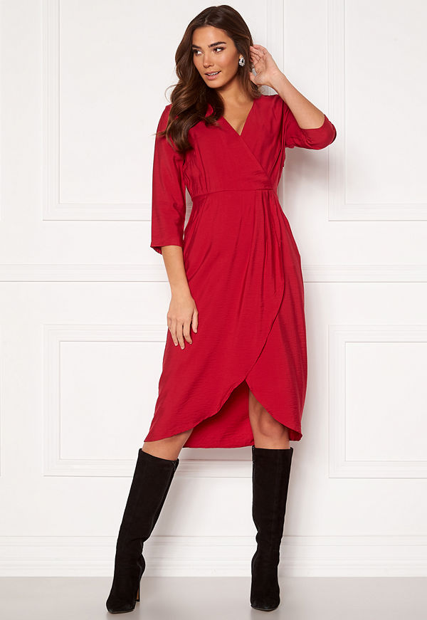 Vila Kri 3/4 Wrap Dress Jetser Red