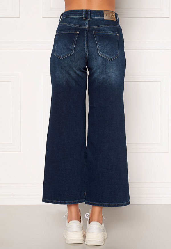 Only Madison HI Life Wide Crop Jeans Dark Denim Blue