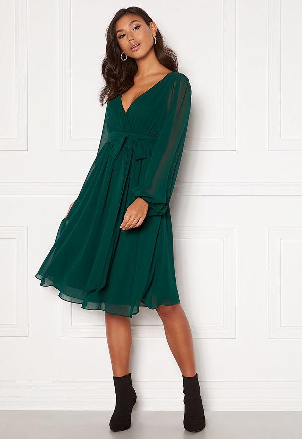 Goddiva Chiffon Midi Dress Green