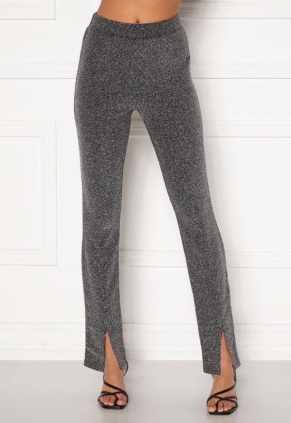 Bubbleroom Bonita sparkling slit leggings Black / Silver