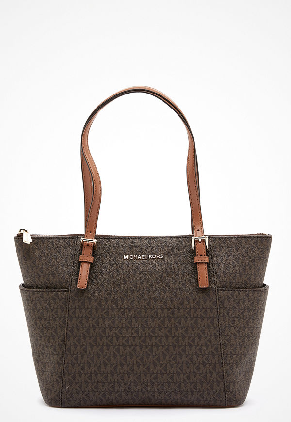 MICHAEL Michael Kors mönstrad shopper Jet Set Tote Bag 252 Brown/Acorn
